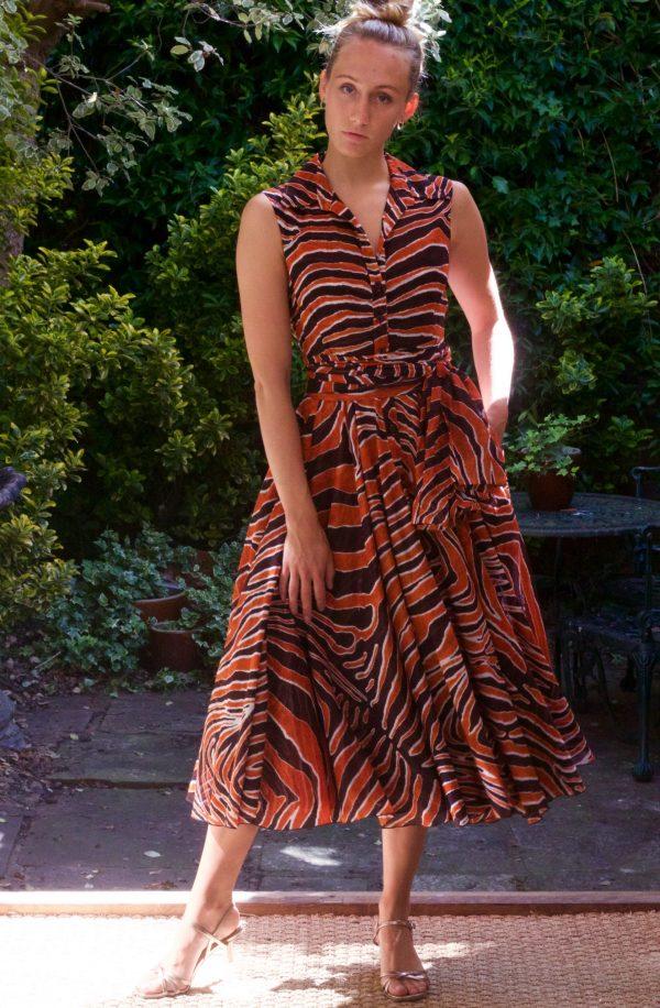 SAMANTHA SUNG – Aster Shirt Dress Half Sleeve – Orange