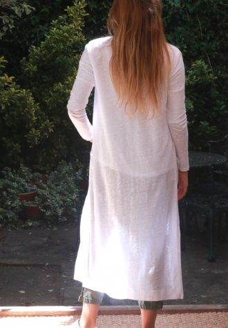 cardi long blanc