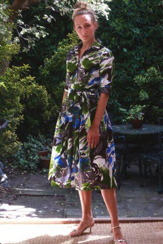 SAMANTHA SUNG – Claire Shirt Dress – Green Gray