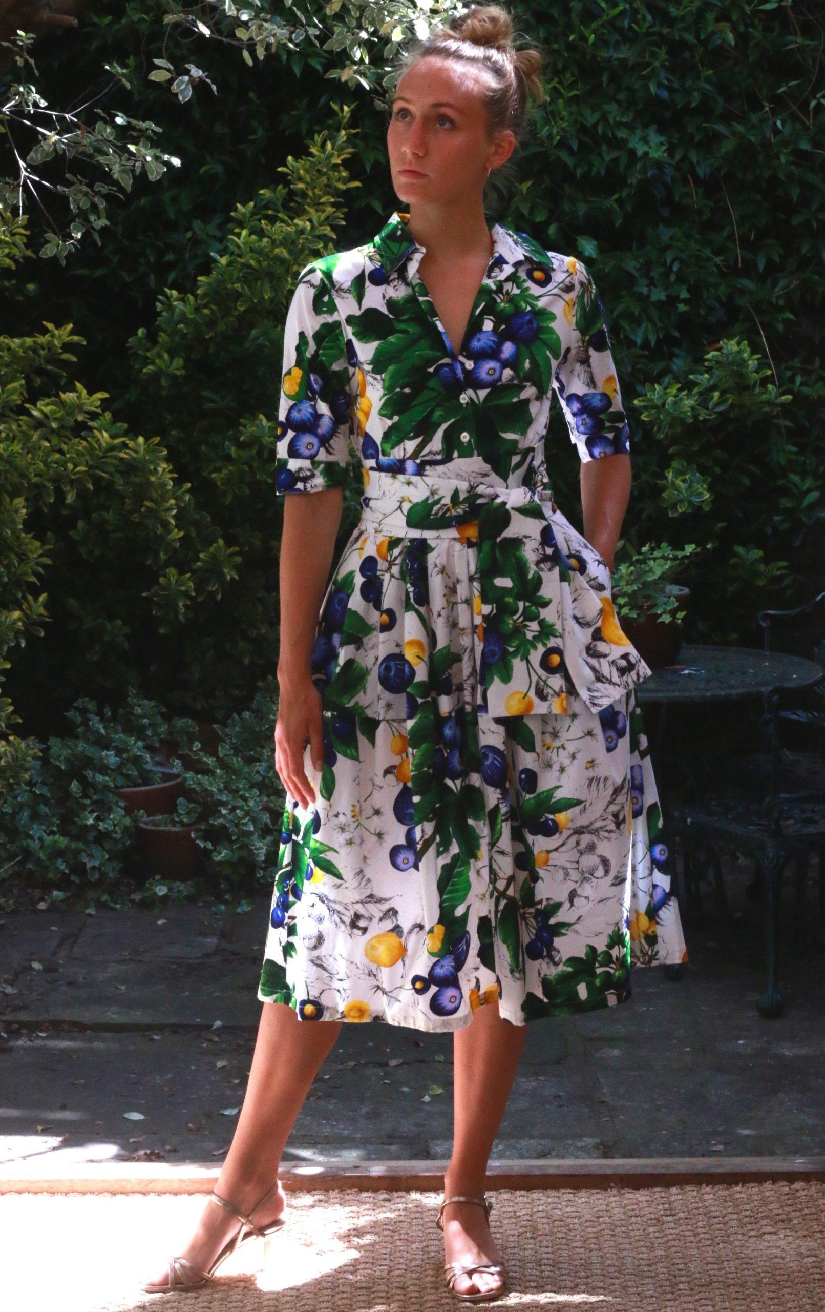 SAMANTHA SUNG – Claire Shirt Dress- White/Blue