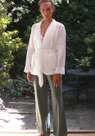 White Jacket and Olive Trouser