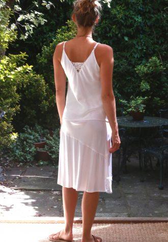 trouser lace panel white cami white