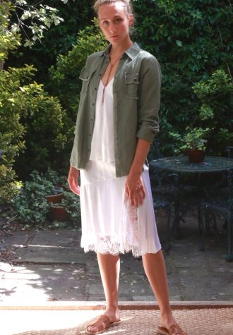 sienna skirt white_shirt olive