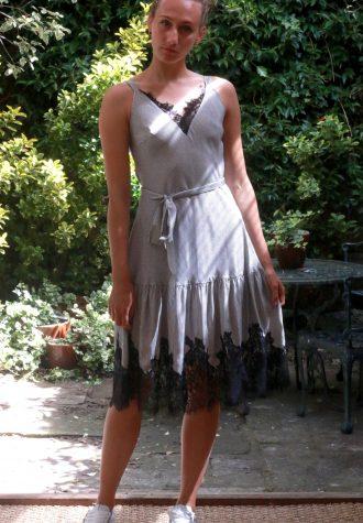 sundress lace hem black white