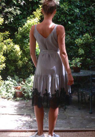 sundress lace hem black_white