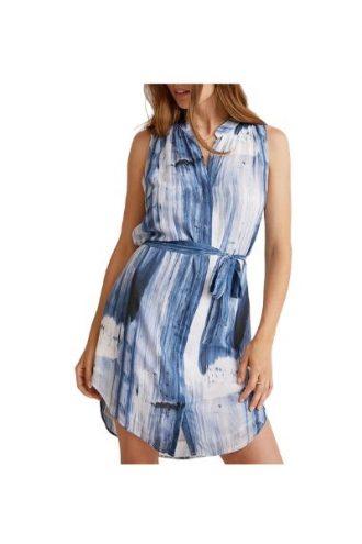 Bella Dahl – Pleat front dress in deep sea navy