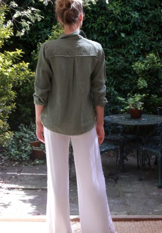 trouser lace panel olive shirt