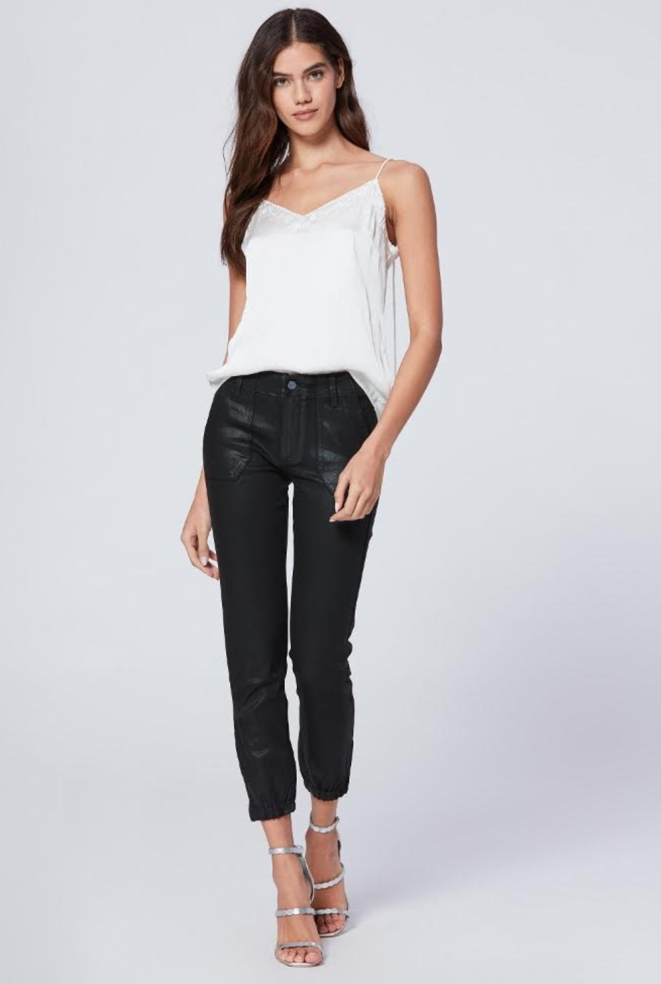 white top & black jeans